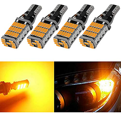 4-Pack 921 912 T10 T15 Ambre / Jaune 800 lumens 12V-18V Extrêmement Lumineux Non-Polarité Canbus Sans Erreur AK-4014 45 pcs Chipsets LED Ampoules Pour Marqueur Latéral Lumière Ampoule de Frein