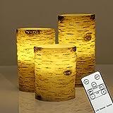 3er LED Kerzen Echtwachskerze mit Timer & Fernbedienung, Dimmbar, Flammenlose Batterie im Birkenstämme Design (Leuchtdauer von 100 Stunden, Warmweiß) 10cm, 12,5cm, 15cm