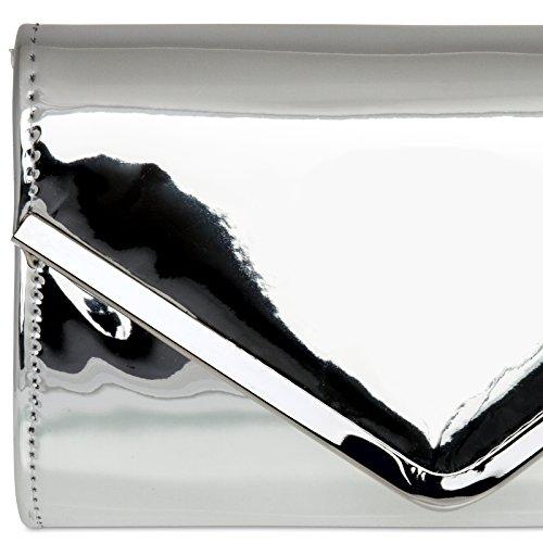 CASPAR TA376 stylisch elegante Damen Envelope Metallic Lack Clutch Tasche / Abendtasche mit langer Kette Silber