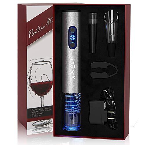 Iegeek cavatappi elettrico, apribottiglie per vino elettrico con batteria ricaricabile, taglia-lamina, versatore vino, tappo sottovuoto, il regalo ideale per tutti gli amanti del vino, tesoro
