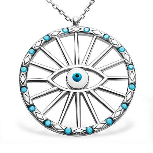 Gegen böser Blick Karma Kreis Kette Damen Halsketten Schmuck Damenkette Anhänger Ketten 925 Silber Blaues Auge Türkisch Nazar Boncuk #2188
