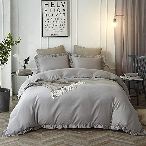 Rüschen-kissen (Lanqinglv Rüschen Grau Bettwäsche 200x200 3 Teilig Mädchen Mikrofaser Bettbezug Deckenbezug mit Reißverschluss mit 2 Kopfkissenbezüge 80x80)