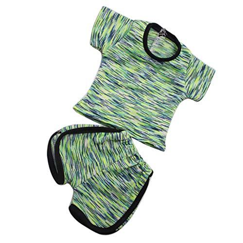 P Prettyia 2-teilig Modische Puppen Sport Kleidung T-Shirt & Shorts Hose Set Für 18 ''amerikanisches Mädchen Puppe - Geen - American Girl Puppe Shorts Set