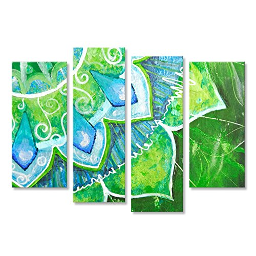 Cuadro Cuadros Primer plano de la brillante imagen pintada verde con patrón de círculo, mandala Impresión sobre lienzo - Formato Grande - Cuadros modernos