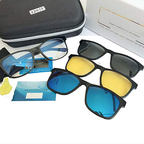 hlq Anti-Müdigkeit Rahmenspiegel, Blu-ray Gläser, Negative Ion Energy Magnetic Mirror 69, Travel Options, Easy to Take, 3pcs