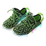 Floridivy Kinder LED-Leuchten Schuhe Jungen Mädchen Freizeitschuhe Gestrickte Kinder Turnschuhe Knopf-Batterie Powered