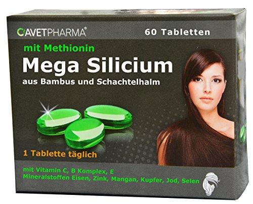 Für gesunde Haare, Haut, Nägel, 60 Tabletten - Silicium, L-Methionin, 9 Vitamine, 6 Mineralstoffe, Silicium aus Bambus und Schachtelhalm, gegen Haarausfall, 1 Tablette täglich, Haare stärken, schneller wachsen, Haut straffen, haare kapseln