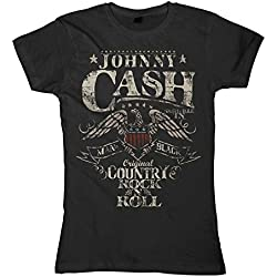 Johnny Cash T-Shirt mujeres camiseta para mujer - Rock n Roll negro 36/38