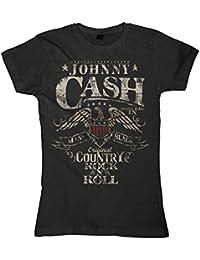 Johnny Cash Damen T-Shirt Girlie Frauen - Rock n Roll