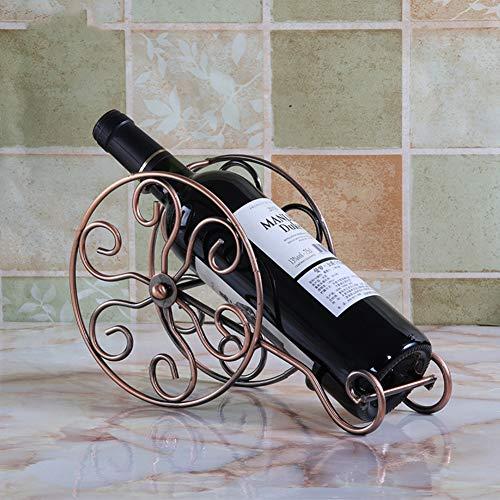 WOFEI Küche Dekoration Einzelflasche Metall Einfache Rad Weinregal für Haus und Küche Dekoration