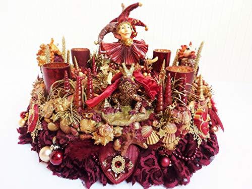 Adventskranz MARE VENEZIA Luxus Maritim grosse Adventsdeko Tischkranz Rot Goldfarben Muscheln...