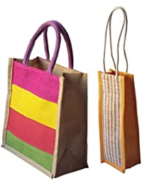 Style And Culture Jute Bag Combo Pack Of 2 Pcs For Multi Purpose Use- Lunch Bag, Shopping Bag, Gift Bag, Wine...