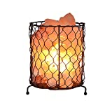 Natürliche Himalaya-Salzlampe mit Dimmable Cord Metal Basket Design Crystal Decor Lampe mit Rosenholzbasis