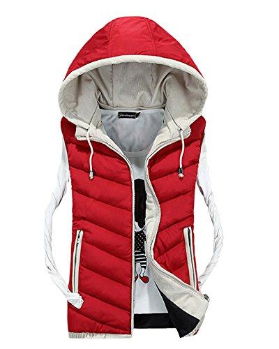 Herren Freizeit Stitching Jacke Draußen Sport Weste Mit Kapuze Weste Mantel Rot XL