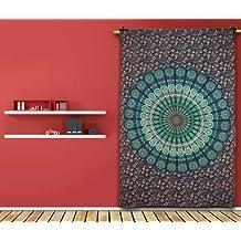 Handicrunch decorativo Mandala Hippie Tapiz mantel azul decoración de la pared de regalo edredón étnica India 82 X 54 pulgadas