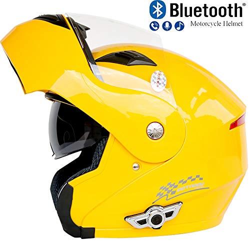 Pn&cc Motorrad Bluetooth Crash Modular Helm, 3000Mah Dual Visier Anti-Fog Helm Eingebauter Lautsprecher Headset Mit Mikrofon Automatische Beantwortung,C,M (Helm Dual-visier Modulare)