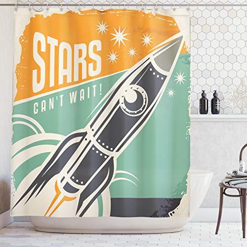 ABAKUHAUS Duschvorhang, Sterne Können Nicht Warten Stars Cant Wait Retro Rocket Figur Starten EIN Digital Druck Design, Wasser und Blickdicht aus Stoff mit 12 Ringen Bakterie Resistent, 175 X 200 cm (Sternen Duschvorhang Mit)