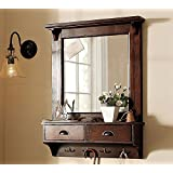 LifeEstyle-com Dressing Mirror with Hooks and 2 Storage Drawers, Bathroom Shelf (in 2 Parts)