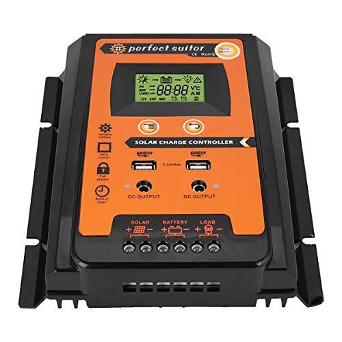 Solarregler, Solarpanel Lade- und Entladepwm-Regler Dualer USB-Ausgang 12 V / 24 V Mppt-Laderegler 30 A / 50 A / 70 A,30A