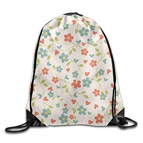 uykjuykj Tunnelzug Rucksäcke, Gym Drawstring Bags Floral Retro Pattern Draw Rope Shopping Travel Backpack Tote Student Camping Lightweight Unique 17x14 IN
