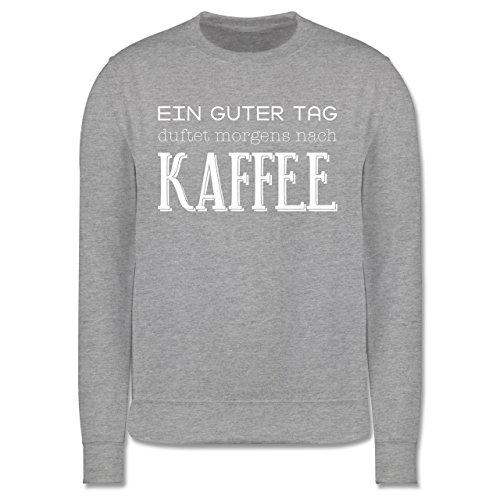 Küche - Ein guter Tag duftet morgens nach Kaffee - Herren Premium Pullover  Grau Meliert