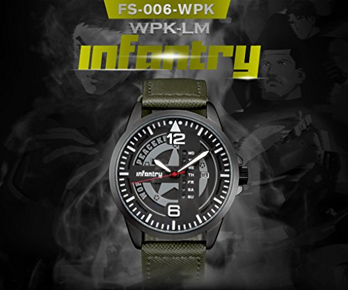 INFANTRY® Herren Analoges Quarzwerk Armbanduhr Outdoor Sport Analog Nachrich Army Echtleder World Peacekeepers - 2