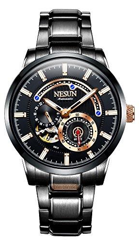Nesun Herren-Uhren Automatik Armbanduhren Wasserdicht Chronograph Kleid Business Casual (Schwarz-Roségold)