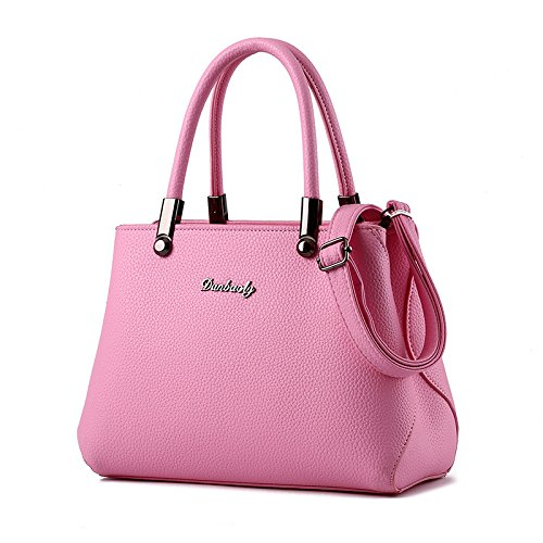 koson-man-womens-fashionable-new-style-pure-color-leather-tote-bags-shoulder-bagspink
