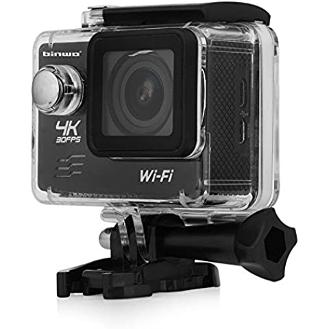 Sport Action Camera Binwo 4K Ultra HD Impermeabile, DVR macchina fotografica subacquea FHD 1080p con WiFi display 2.0 pollici 16MP e 170 gradi di visuale