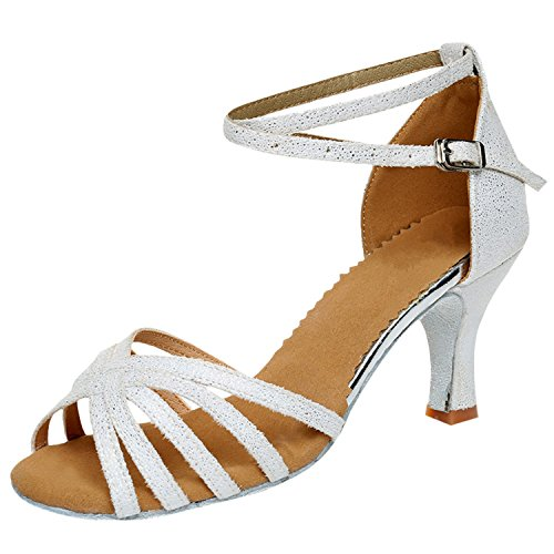 Azbro Women's Open Toe Strap High Heels Latin Dance Shoes White