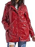 SheLikes Damen Regenjacke mit Kapuze, Unifarben, wasserdicht Gr. 36, rot