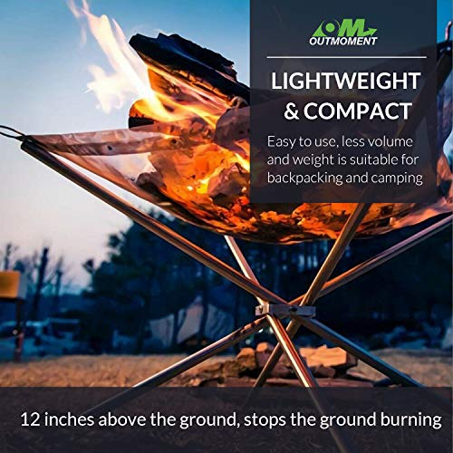 Outmoment Portable Fire Pit, Collapsing Stainless Steel Mesh Fireplace Patio Outdoor Heater Firepit with Carrying Bag for Camping Backyard Garden