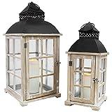 Multistore 2002 2tlg. Laternen-Set H42/54cm, Naturfarben/Schwarz, Holzlaterne Gartenlaterne Kerzenhalter Gartenbeleuchtung Windlicht