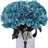 Kimura's Cabin Fake Flowers Vintage Artificial Silk Hydrangea Flowers Bouquets 5 Heads for Home Table Cent