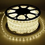 ECD Germany 50m Tira de luz LED blanca cálida con adaptador de corriente montado 220-240 AC 1.2W Protección IP44 Ángulo de haz de 360 °