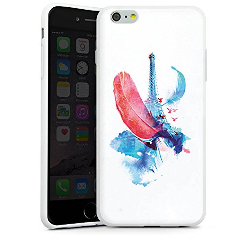 Apple iPhone X Silikon Hülle Case Schutzhülle Feder Art Eiffelturm Silikon Case weiß