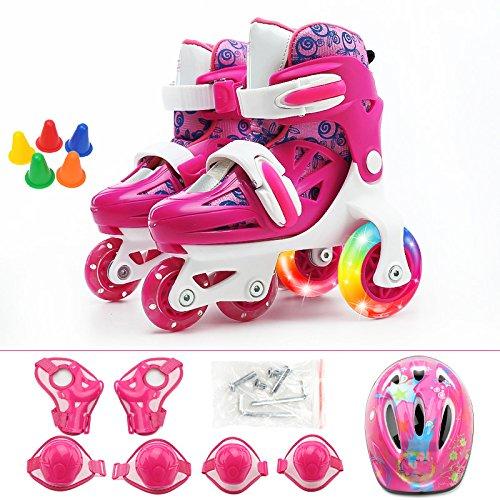 ZCRFY Rollschuhe Baby Junge Kinder Skates Set 2-10 Jahre Alt Jungen Und Mädchen Anfänger Rollschuhe Einstellbar Zweireihig Ice Skate Rollerblades,Rosepink-S