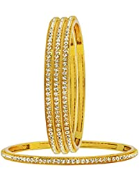 The Jewelbox Bridal Solitaire Eternity CZ 22K Gold Plated Bangle Set Of 4 For Girls Women