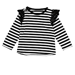 For 0-2 Years old Girls,Clode® Toddler Baby Kids Girls born Infant Baby Girls Lace Flying Long Sleeve T-Shirt Tops