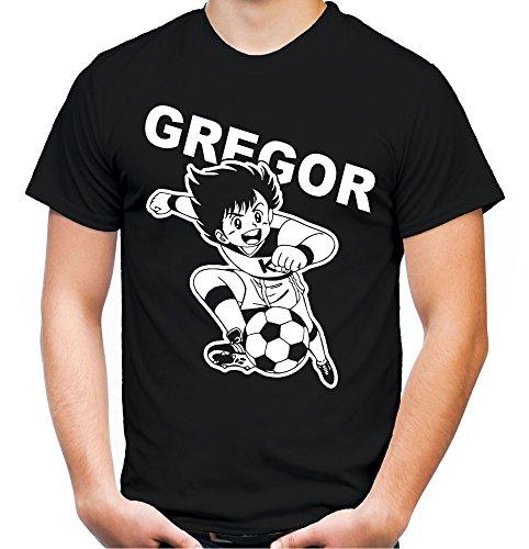 Gregor Männer und Herren T-Shirt | Kickers Fussball Comic 90er Kult (3XL, Schwarz)