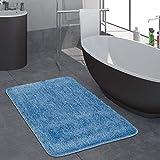 Paco Home Moderner Hochflor Badezimmer Teppich Einfarbig Badematte Rutschfest In Blau, Grösse:70x120 cm