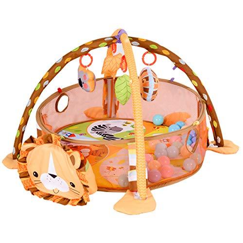 Blitzzauber24 3-in-1 Palestrina Evolutiva Tappeto da Gioco per Neonato Box interattivo per Bambini con Piccole Palle Colorate 96x66x52cm