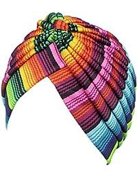 Fascigirl Turban Chapeau Plissé Turban Enveloppe de Cheveux Coiffures Multicolores pour Femmes