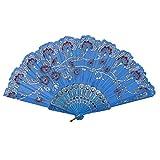 Lazzboy Mano Pieghevole Ventaglio Fiore plastica Floreale Openwork Costume Party Matrimonio Sposa Cinese/Giapponese Fan Decorations(Cielo Blu,23cm)
