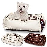 Unbekannt Smoothy Hundekorb aus Leder; Hunde-Körbchen; Hundebett für Luxus Vierbeiner; Beige-Weiß Größe S