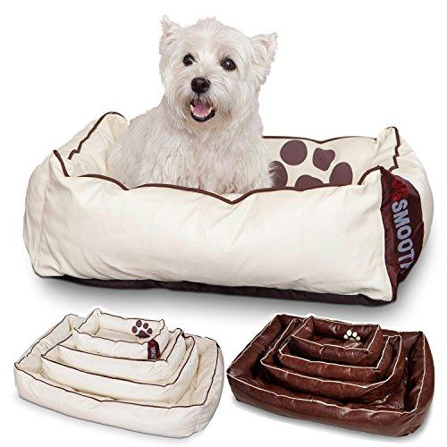 Smoothy Hundekorb aus Leder; Hunde-Körbchen; Hundebett für Luxus Vierbeiner; Beige-Weiß Größe S