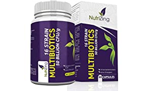 NutriZing's Multi-Strain Supplements. Contains 16 strains of friendly bacteria and 50 billion CFU/gram. Delayed release capsules that are resistant to stomach acid. 100% Vegetarian. For Men & Women. FREE Bonus E-books!