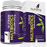 Bio-Cultures Complex - 16 Active Strains with 50 Bn CFU Source Powder - Time Release Capsules - Certified Vegan - High Strength Including Lactobacillus Acidophilus and Bifidobacterium by NutriZing
