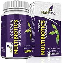 NutriZing Suplementos Multibioticos ~ 16 cepas bacterianas beneficiosas ~ 50 mil millones de UFC ~ 100