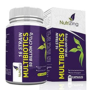 Multi-Strain Bio-Cultures Complex by NutriZing. 16 strains of Friendly Bacteria & 50 Billion CFU/Gram. Delayed Release Capsules (Resistant to Stomach Acid). 100% Vegetarian & Vegan. Free E-Books!